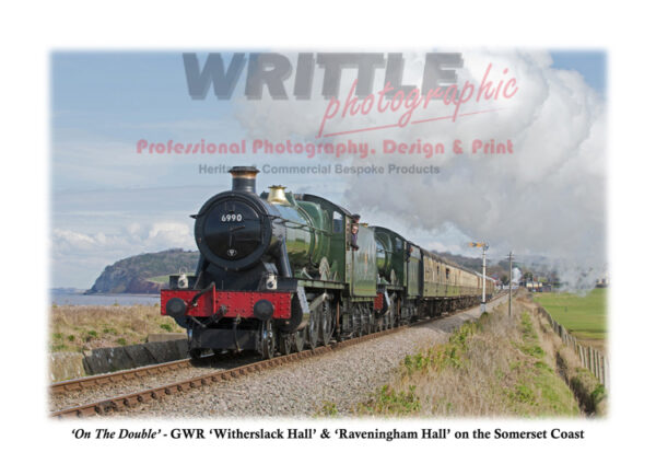 'On The Double' – Great Western Railways Modified Hall Classes No.6990 'Witherslack Hall' and No.6960 'Raveningham Hall' double-head a West Somerset Coast service.