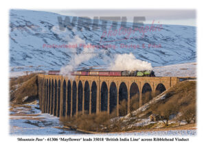No. 61306 'Mayflower' leads No. 35018 'British India Line' across Ribblehead Viaduct.
