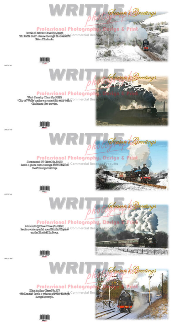 Steam Locomotives of the Southern Railway Christmas Cards