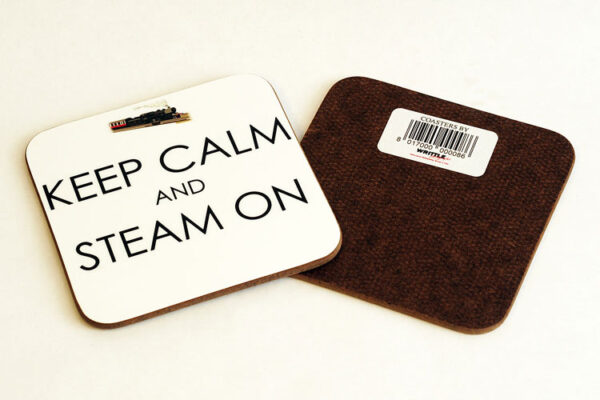 'Keep Calm and Steam On' Square Coaster